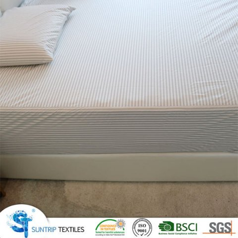 Grey Striped Knitting Mattress Protector