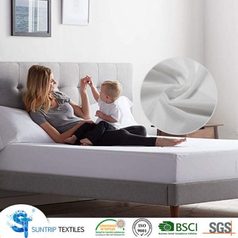 White Brushed Tricot Waterproof Fitted Mattress Cover