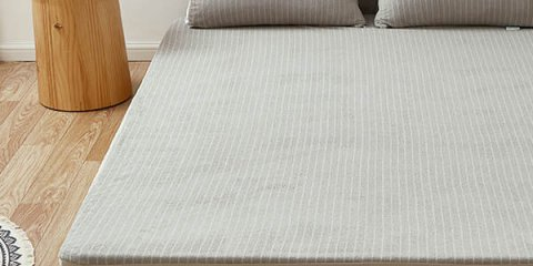 Striped Light Gray Terry Cloth Waterproof Mattress Cover