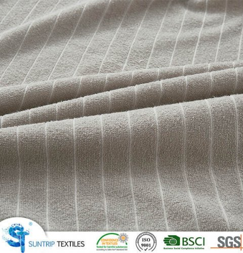 Striped Light Gray Terry Cloth Waterproof Mattress Cover