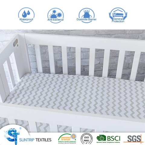 Cotton Jersey Printed Waterproof Baby Mattress Protector