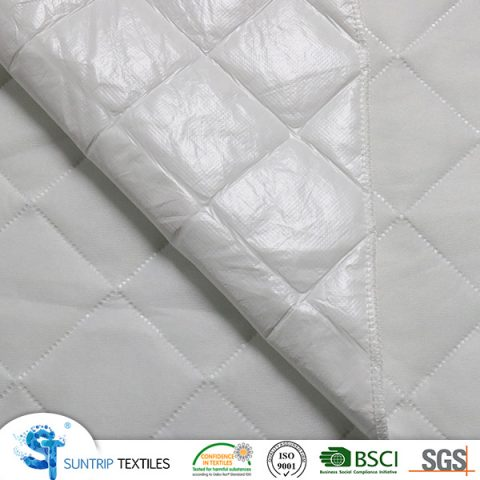 ultrasonic fabric 55gsm tricot fabric with 100gsm poly filling and 25gsm PP nonwoven with TPU