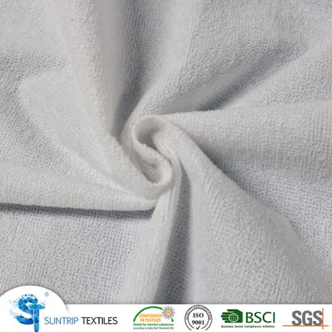 100gsm 100% poly terry cloth laminated with 80gsm hotmelt PE