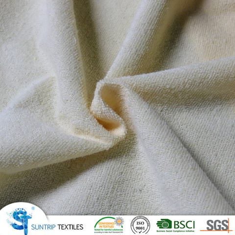 140gsm waterproof light yellow terry colth laminated TPU fabric