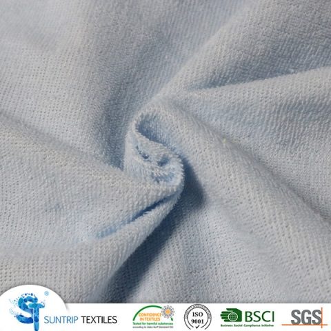 140gsm waterproof light blue terry colth laminated TPU fabric