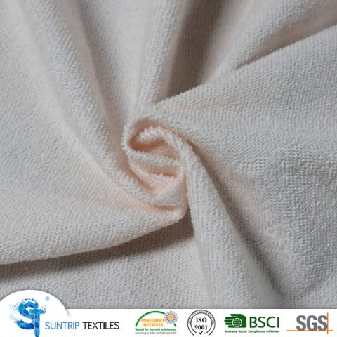 140gsm waterproof light pink terry colth laminated TPU fabric