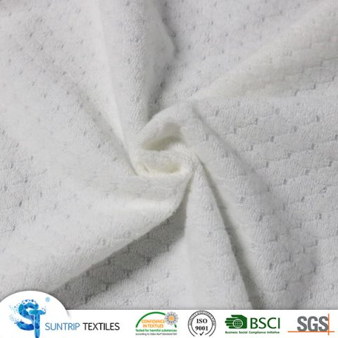230gsm jacquard CVC terry cloth laminated with TPU