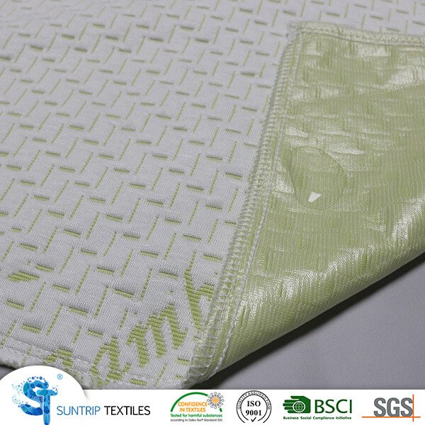 230gsm green bamboo jacquard fabric laminated with clear TPU