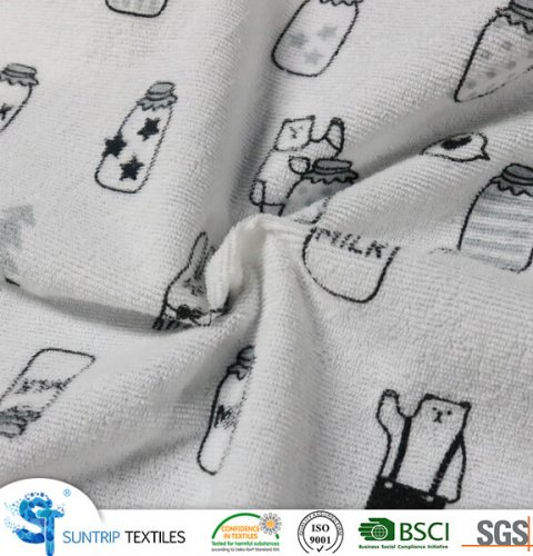 160gsm cute printed terry cloth laminated with 2S TPU