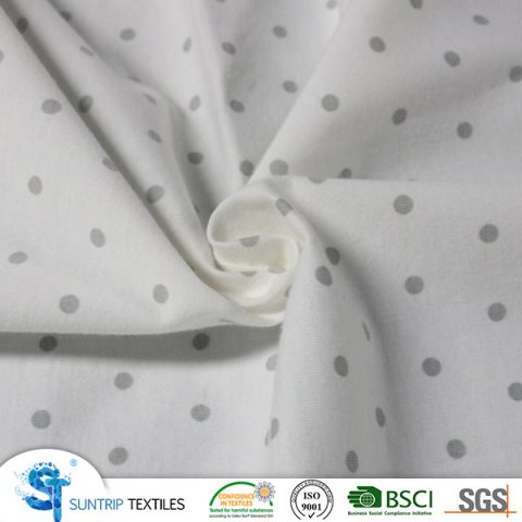 Printed dot 100% cotton jersey fabric laminated with TPU