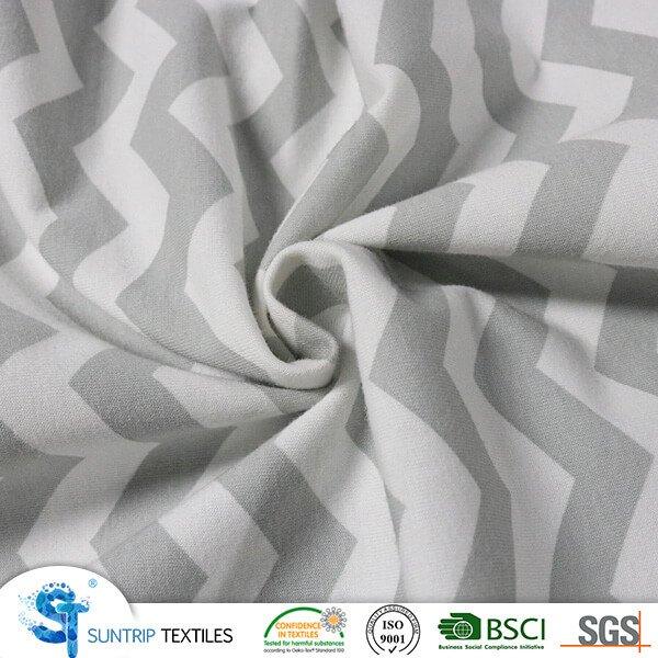 Non Slip Printed Stripe Cotton Jersey Fabric Laminated