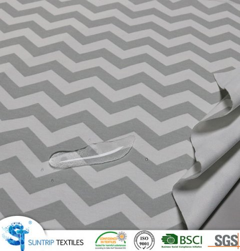 Printed stripe 100% cotton jersey fabric laminated with TPU