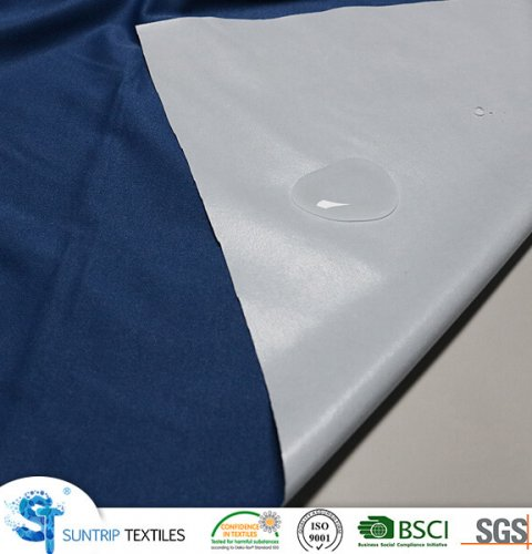90gsm navy blue poly knitted fabric laminated with clear TPU